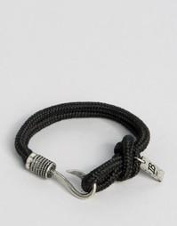 Черный веревочный браслет с крючком Icon Brand - Черный