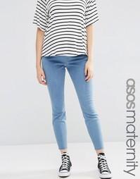 Светлые джинсы для беременных с прорехами и заплатками ASOS Maternity