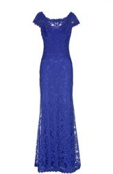 Приталенное кружевное платье в пол Tadashi Shoji