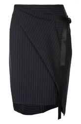 Мини-юбка асимметричного кроя в полоску DKNY