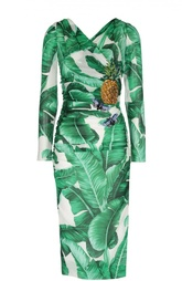 Облегающее платье с цветочным принтом и вышивкой Dolce & Gabbana