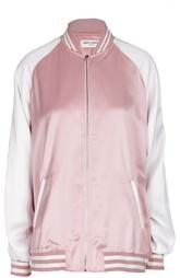 Куртка-бомбер с контрастными рукавами и манжетами Saint Laurent