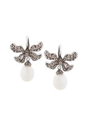 Серебряные серьги с жемчугом и бесцветными топазами «Бантики» Axenoff Jewellery