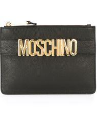 клатч с бляшкой с логотипом Moschino