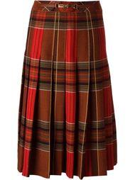 плиссированная юбка в клетку Céline Vintage