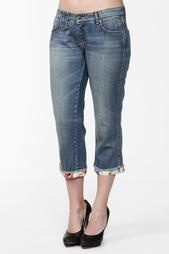 Бриджи джинсовые, косынка Roccobarocco