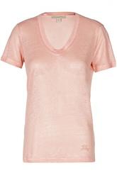Льняная приталенная футболка с круглым вырезом Burberry Brit