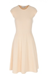Плиссированное приталенное платье с круглым вырезом HUGO BOSS Black Label