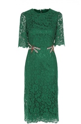 Кружевное приталенное платье с вышивкой Dolce & Gabbana
