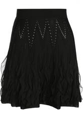 Мини-юбка с оборками и перфорацией Roberto Cavalli