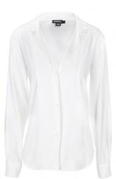 Шелковая блуза в пижамном стиле с V-образным вырезом DKNY