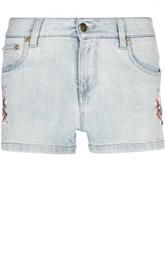 Джинсовые мини-шорты с вышивкой Roberto Cavalli
