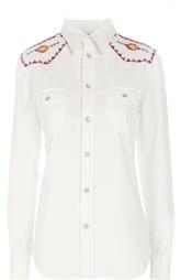 Приталенная блуза с накладными карманами и вышивкой Polo Ralph Lauren