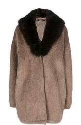 Пальто прямого кроя с меховым воротником Roberto Cavalli