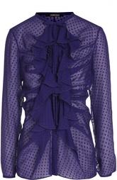 Шелковая полупрозрачная блуза с воланами Roberto Cavalli