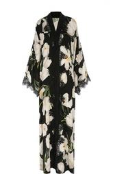 Шелковое платье-туника с цветочным принтом и кружевной отделкой Dolce & Gabbana