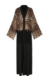 Шелковое платье-туника с кружевной отделкой и леопардовым принтом Dolce & Gabbana
