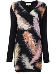 вязаное платье с принтом перьев Emilio Pucci