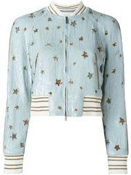 куртка-бомбер со звездами из пайеток Valentino