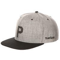 Бейсболка с прямым козырьком TrueSpin Abc Snapback Dark Grey/Black Leather-p