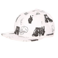 Бейсболка с прямым козырьком Converse Deconstructed Pattern Cap Sneaker/Flag/Piece Print White