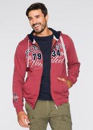 Трикотажная куртка Regular Fit с капюшоном (светло-красный) Bonprix