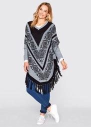 Пуловер в стиле пончо (серебристо-серый с узором) Bonprix