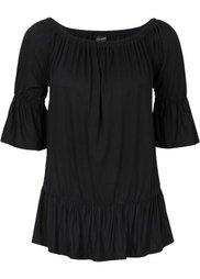 Трикотажная блузка с вырезом-кармен (белый/черный в полоску) Bonprix