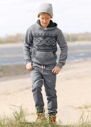 Пуловер с этническим узором и капюшоном, Размеры  116/122-164/170 (серый меланж) Bonprix