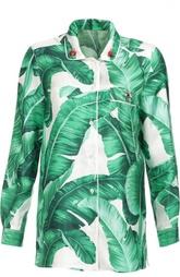 Шелковая блуза в пижамном стиле с цветочным принтом Dolce & Gabbana