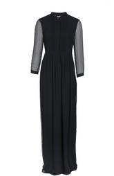 Шелковое платье-рубашка в пол с воротником-стойкой Burberry