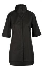 Удлиненная блуза с высоким воротником и открытыми плечами DKNY