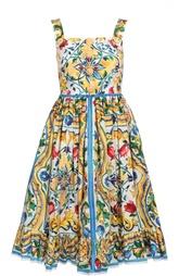 Приталенный сарафан с цветочным принтом и декоративными пуговицами Dolce & Gabbana