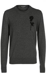 Шерстяной пуловер с аппликацией Dolce & Gabbana