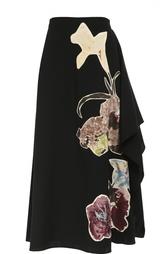 Юбка-макси с воланами и цветочными нашивками Valentino
