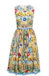 Приталенное платье без рукавов с цветочным принтом Dolce & Gabbana