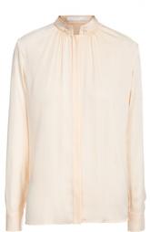 Шелковая блуза прямого кроя с воротником-стойкой HUGO BOSS Black Label