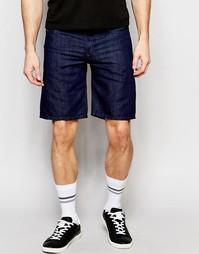 Прямые джинсовые шорты темного цвета Diesel Bustshort - Синий