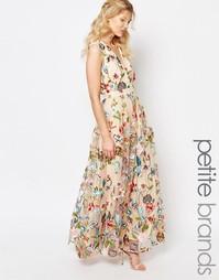 Платье макси с цветочной вышивкой True Decadence Petite - Мульти