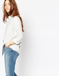 Рубашка бойфренда в полоску цвета хаки ASOS - Мульти