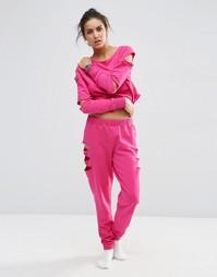 Джоггеры с прорехами ASOS LOUNGE - Hot pink