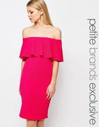 Облегающее платье с оборкой John Zack Petite - Hot pink