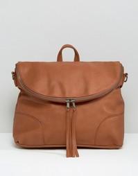Рюкзак с клапаном на молнии Pieces - Коньячный