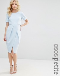 Двухслойное фактурное платье‑футляр миди ASOS PETITE - Blush