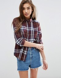ASOS Boyfriend Shirt in Oxblood Check - Мульти