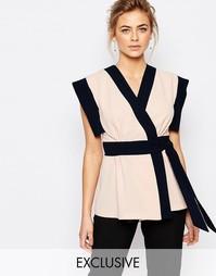 Блузка в стиле колор блок с запахом спереди Closet