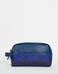 Темно-синий несессер с кармашком под змеиную кожу ASOS - Темно-синий
