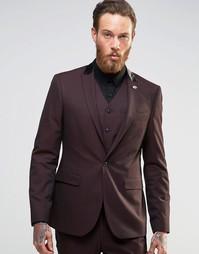 Пиджак кроя слим ASOS - Burgandy