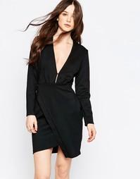 Асимметричное платье с глубоким вырезом спереди Liquorish - Черный