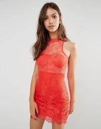 Кружевное платье‑футляр с высокой горловиной Glamorous - Красный